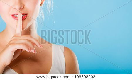 Girl Hand With Silence Sign.
