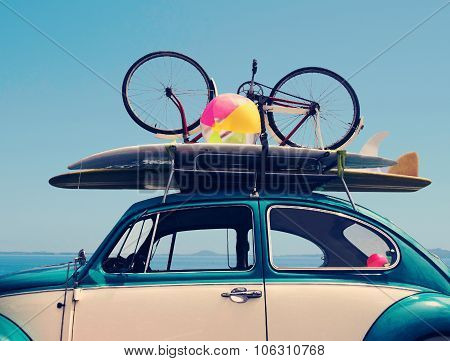 Vintage Summer holiday road trip vacation Travel concept with copy space poster