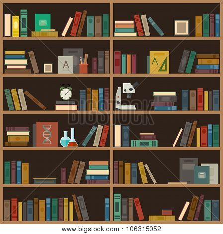 Home library flat illustration.