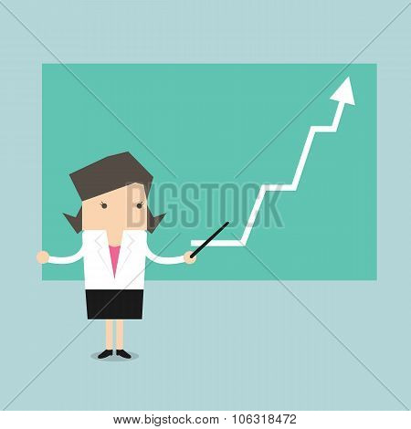 Businesswoman with business growing graph