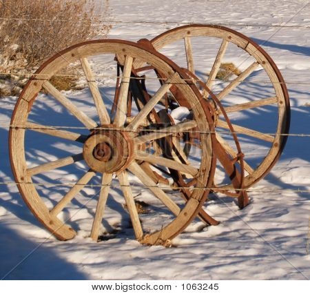 Double Wagon Wheels In Snow