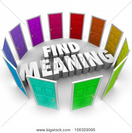 Find Meaning 3d words surrounded by colorful doors illustrating many or several paths, routes or ways to understanding and spirituality poster