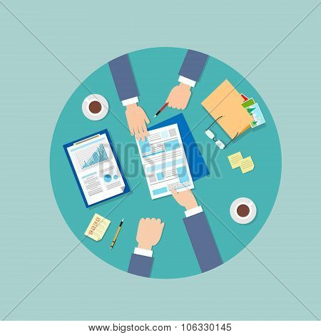 Business People Folder Document Papers Signing Up Contract Agreement