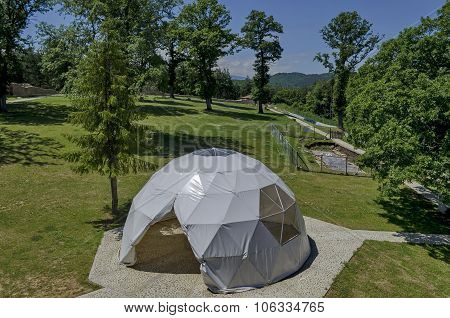 Tent for preserve  info board with detailed plan of Prevails Mali town or Stari Mali grad