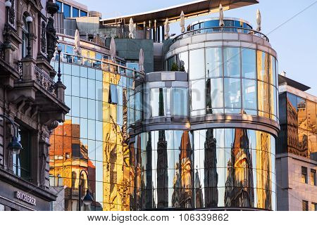 Reflection In Wall Of Haas House In Vienna
