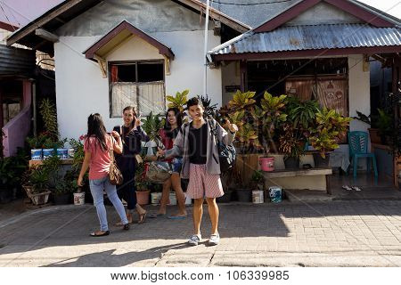 Indonesian Teenagers In Manado Shantytown