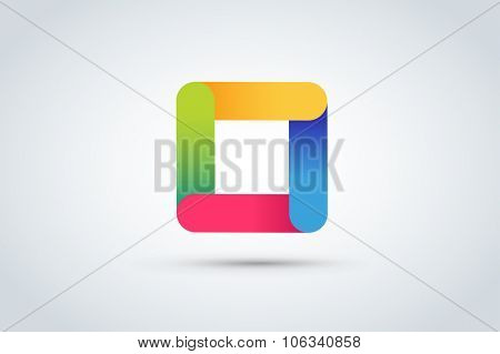 Abstract square logo vector template. Corner geometric shape and symmetric symbol, square icon, box logo or box square shape. Company logo. Geometric design. Square logo. Square design. Square icon