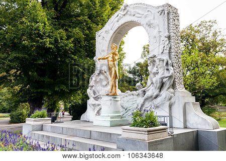 Memorial Of Johann Strauss Son In Stadtpark Vienna