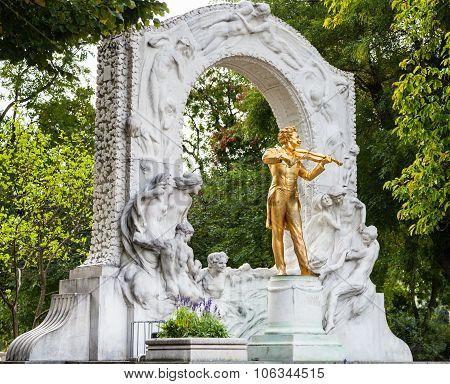 Golden Monument Johann Strauss In City Park Vienna