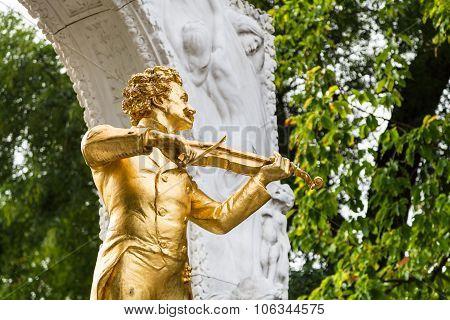 Statue Johann Strauss Close Up In City Park Vienna