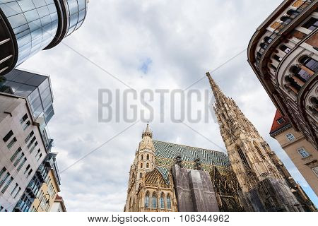 Gray Clouds Over Cathedral And Stephansplatz