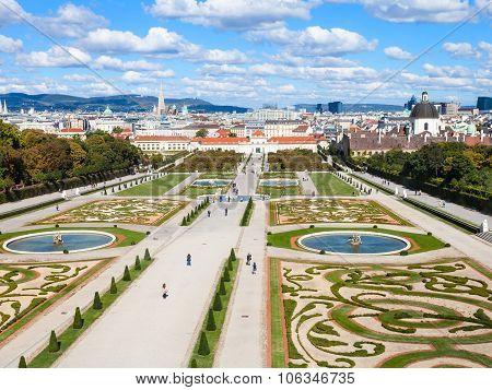 Vienna Skyline And Belvedere Gardens