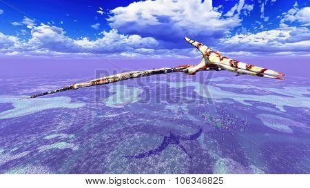 Huge pterodactyl flying over land poster
