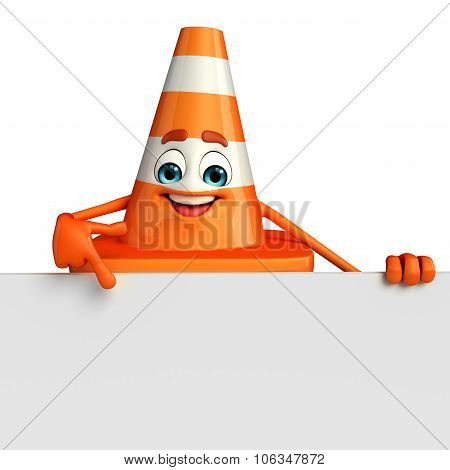 Construction Cone Character With Sign