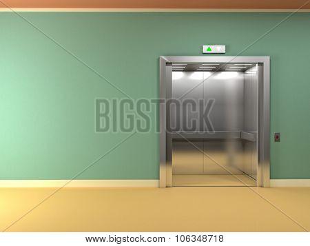 3d image of classic elevator open doors