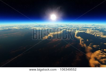 Planet Earth sunrise over cloudy ocean from outer space (3d artwork)