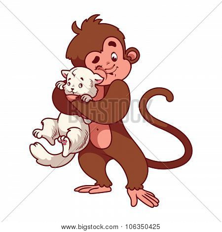 Monkey hugging white cat.