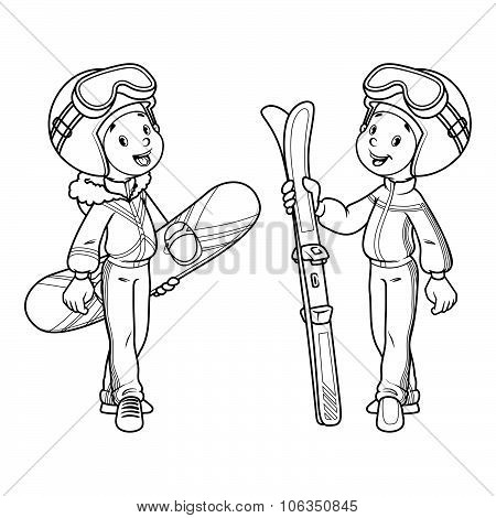Two Boys With Skis And Snowboard In Ski Suits