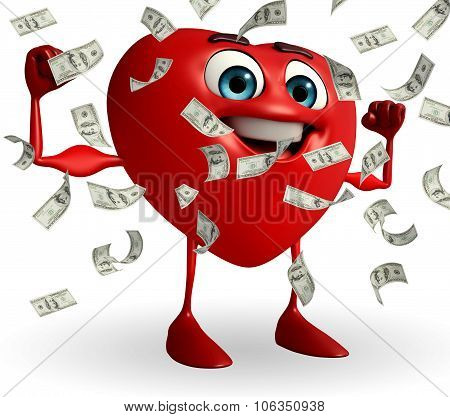 Heart Shape Character With Dollers