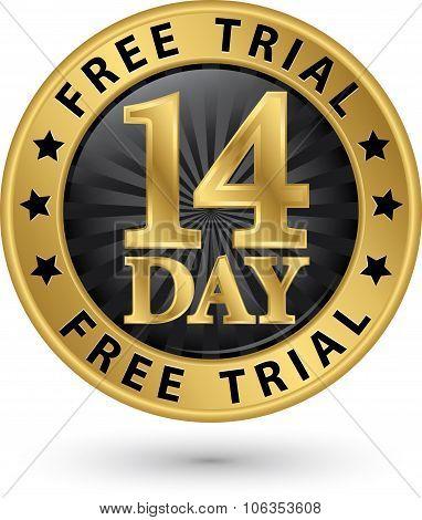 14 Day Free Trial Golden Label, Vector Illustration