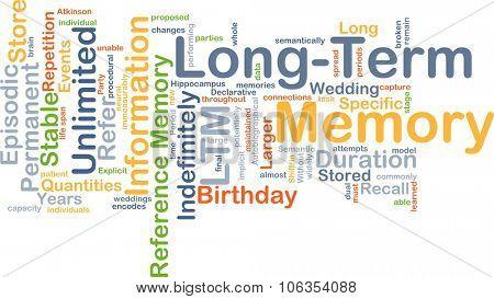 Background concept wordcloud illustration of long-term memory LTM