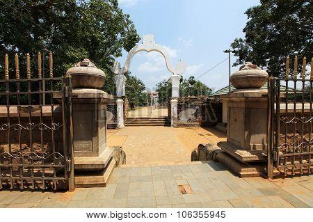 Anuradhapura gardens arround dagoba on Sri Lanka