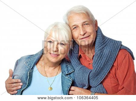 Senior couple portrait on white background