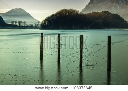 Frosted Lake In North Italy