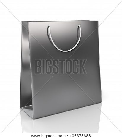 Black Paper Bag For Purchases On A White Background.