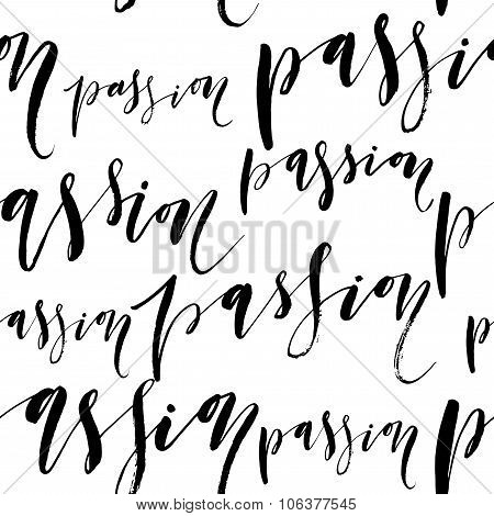 Seamless Pattern With Handwriting Text. Calligraphy.
