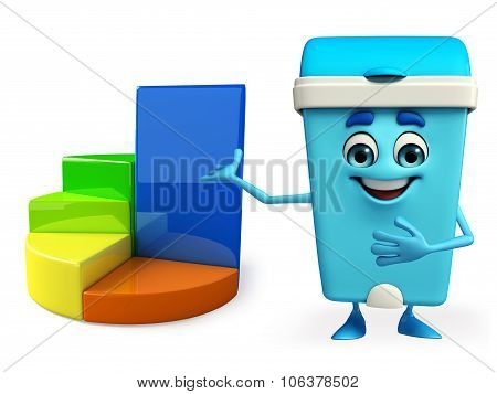 Dustbin Character With Business Graph