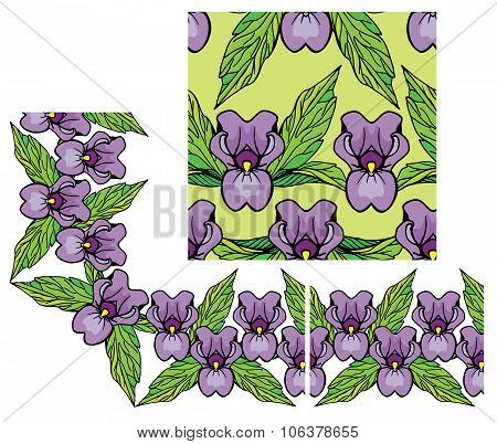 Set Of Ornaments - Decorativ Floral Border And Seamless Pattern With Iris Flowers.