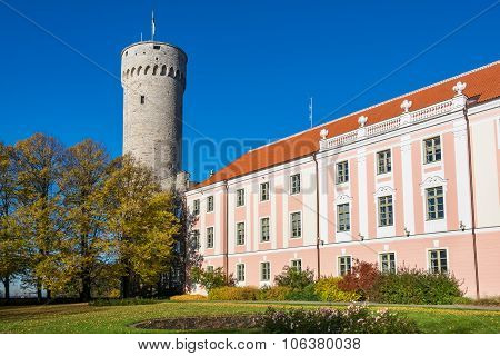 Tall Hermann tower and Parliament building. Toompea Governors garden Tallinn Estonia poster