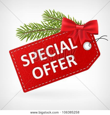Red Leather Price Christmas Labels Special Offer