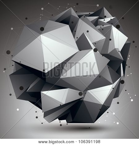 Abstract Asymmetric Vector Monochrome Object With Black Lines Mesh, Complicated Geometric Shape.