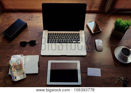 Mock up of successful person desktop with luxury accessories and distance work tools