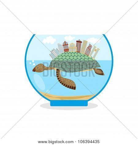 Mini City On Shell Of Turtle. Micro Ecosystem In An Aquarium. Skyscrapers And Public Buildings On Se