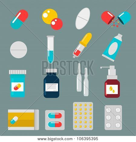 Pills capsules icons vector flat set. Medical vitamin pharmacy illustration