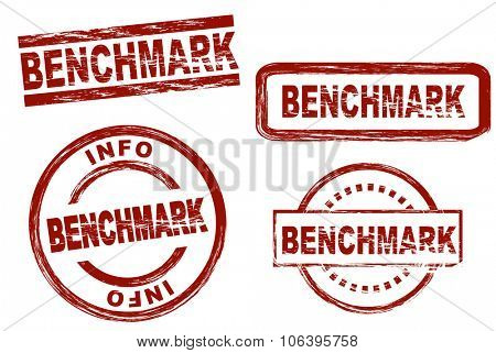 Set of stylized stamps showing the term benchmark. All on white background.