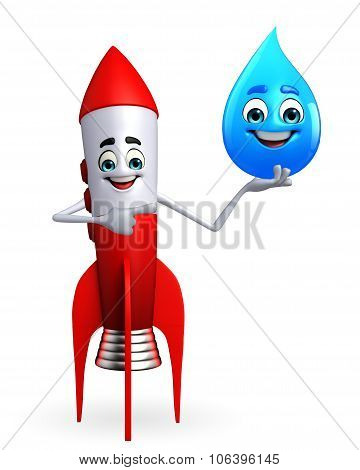 Rocket Character With Water Drope