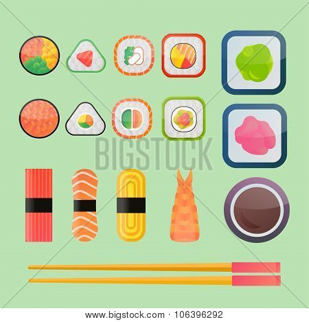 Sushi vector flat icons set