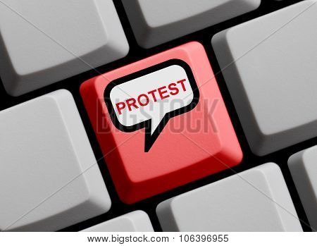 Red Computer Keyboard with speech bubble showing Protest poster