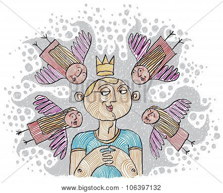 Alpha Male Concept. Magnetism Idea Vector Simple Illustration, Hand Drawn Man With A Crown On A Head
