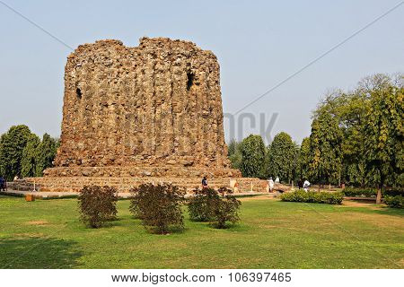 Detail Of Qutub (qutb) Minar, The Tallest Free-standing Stone Tower In The World, And The Tallest Mi