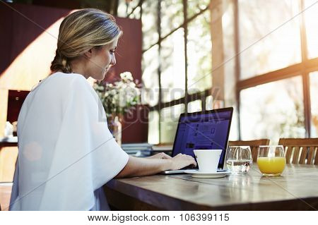 Young Sweden woman working on laptop computer during morning breakfast