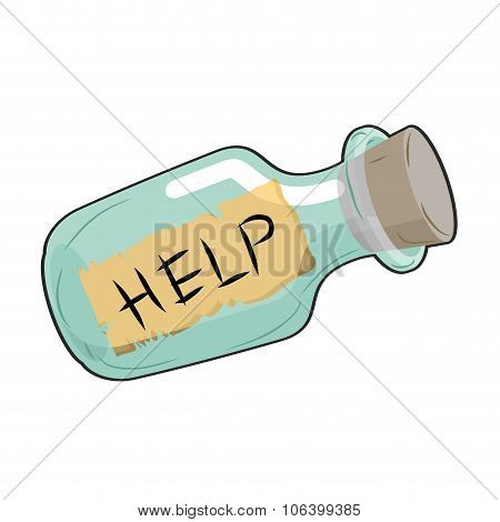 Help In Bottle. Glass Vessel With Wooden Stopper. Paper With Text  Sos