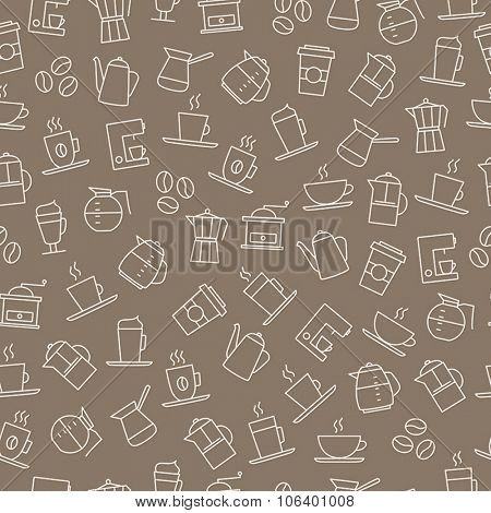Coffee background - seamless pattern. For restaurant menus, brand design, stationery, wallpaper decorations, business cards etc.