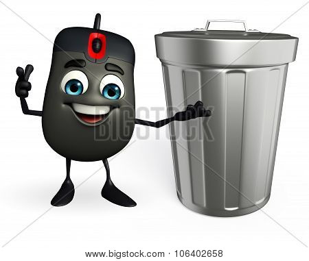 Computer Mouse Character With Dustbin