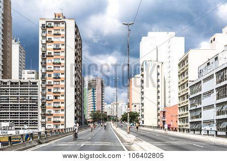 SAO PAULO, BRAZIL - CIRCA JUNE 2015: The famous Minhocao in Sao Paulo, Brazil