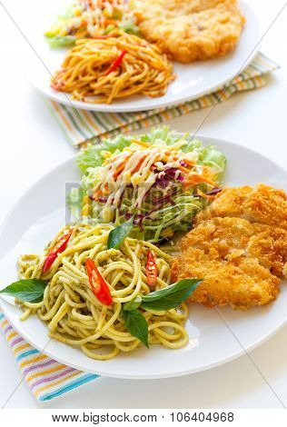 Thai Green Curry  Spaghetti With Fried Chicken.
